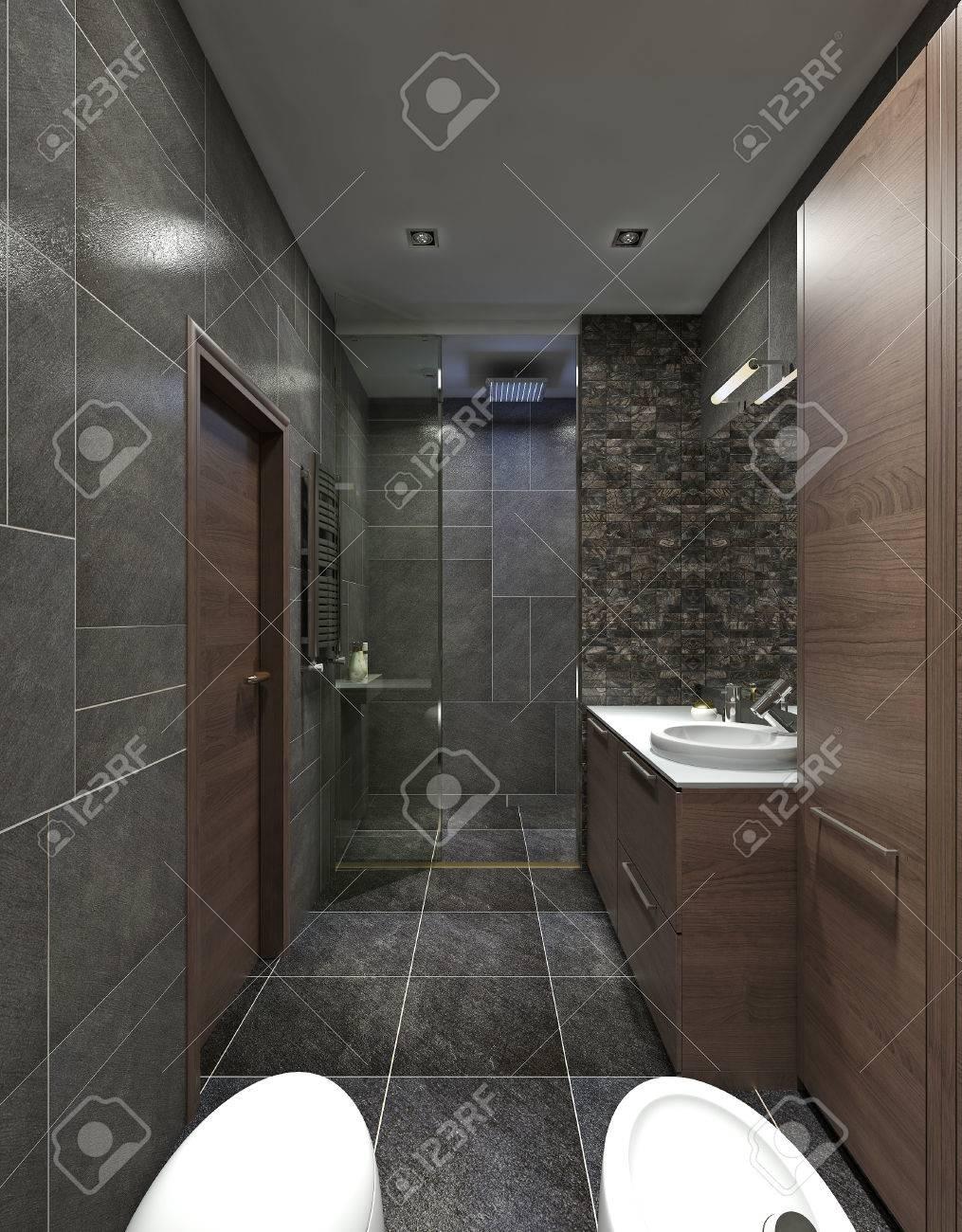 Das Bad Ist Im Stil Des Konstruktivismus. Moderne Badezimmermöbel In Braun.  Schwarze Wände In