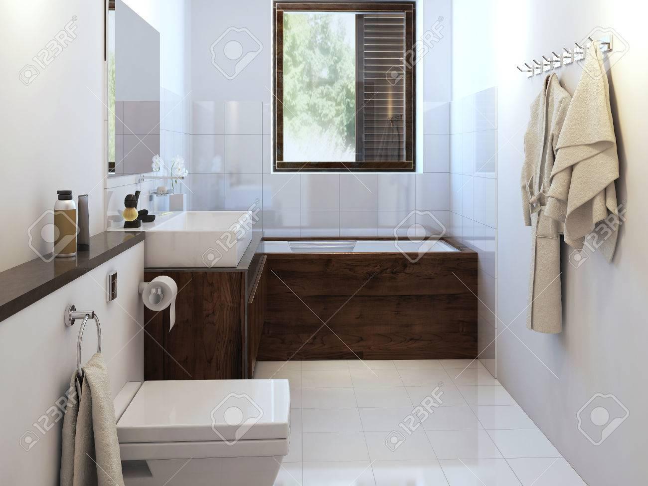 Cuarto de baño rústico. imágenes 3d
