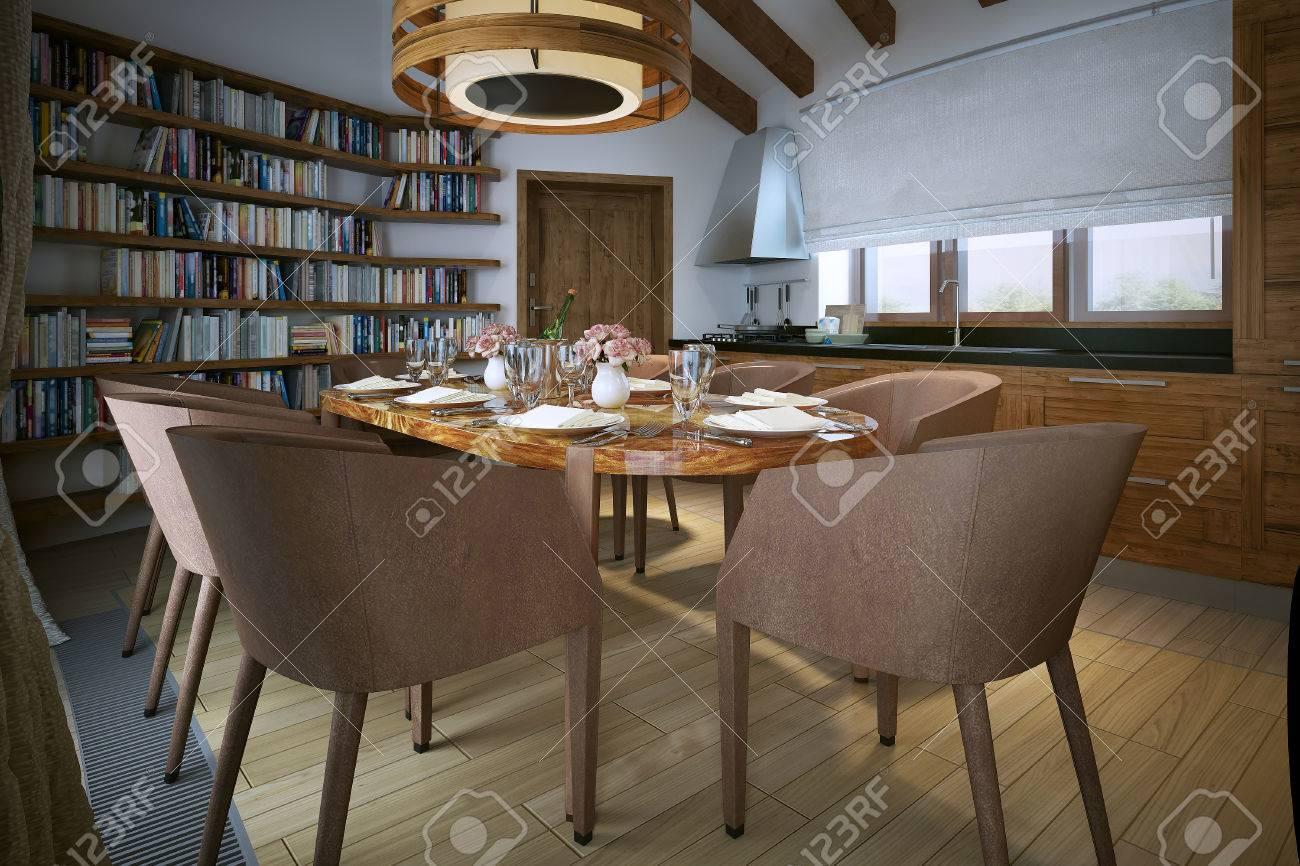 Esszimmer, Loft Stil, 3D Bild Lizenzfreie Bilder   47512928