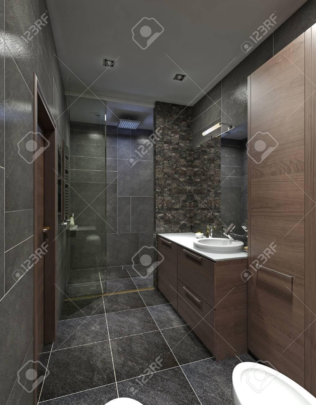 Design Badezimmer Im Modernen Stil. Mit Dusche Und Badewanne Weiß. Die  Schwarz,