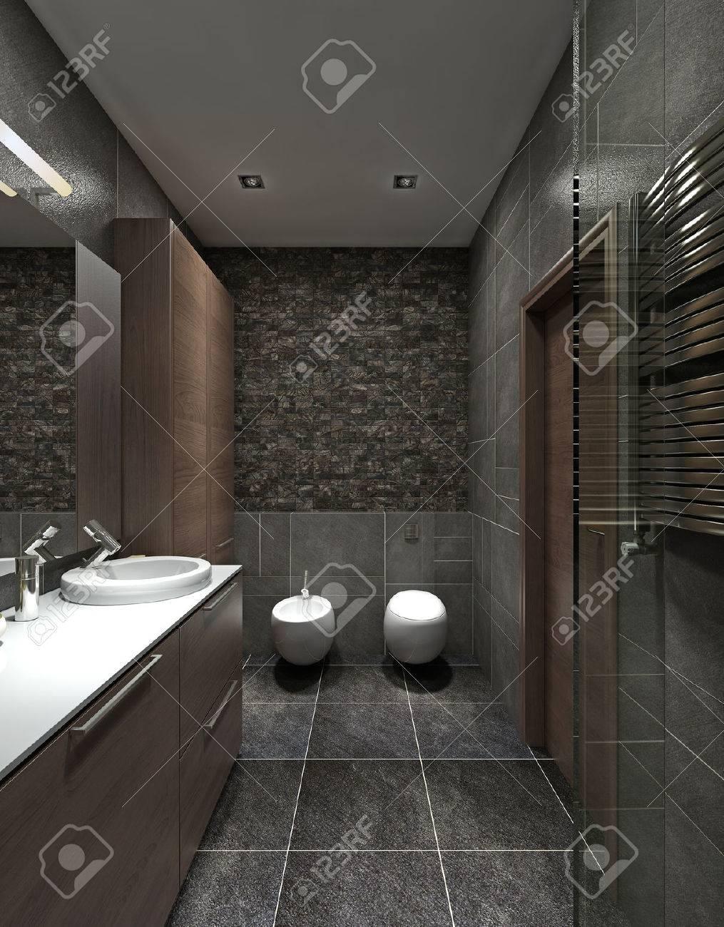 Un cuarto de baño de estilo moderno. Inodoro, bidet y un armario para la  ropa, un marrón y negro. 3D render.