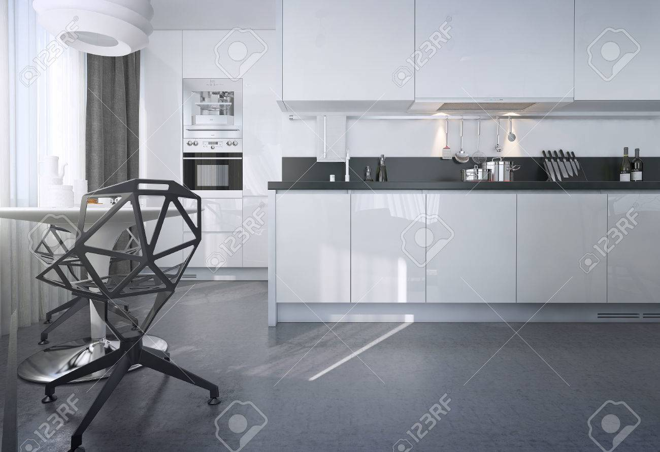Salle à manger cuisine, style scandinave, des images 3D