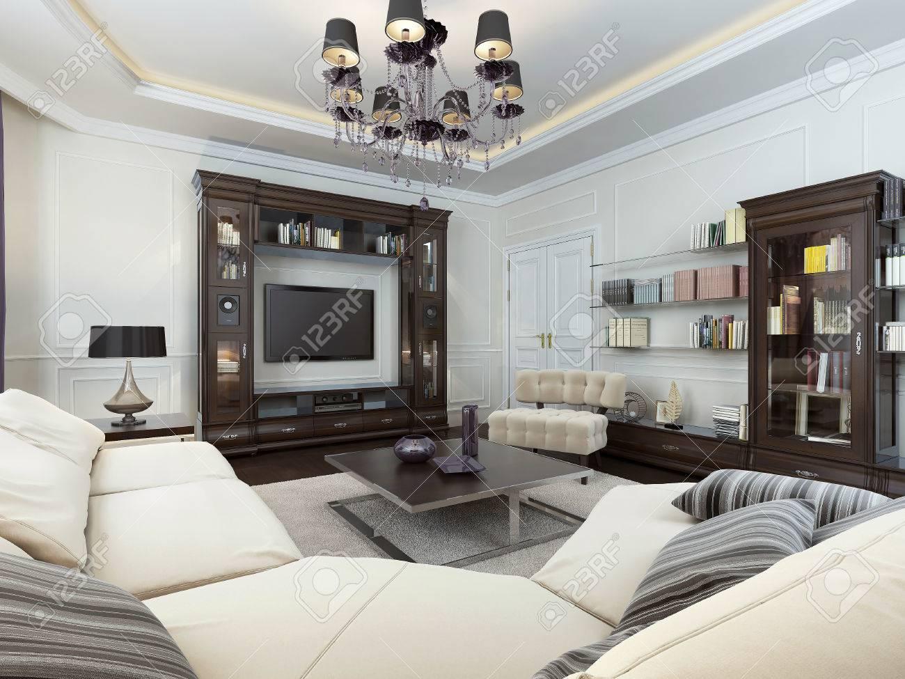 Wohnzimmer Im Art-Deco-Stil, 3D-Bilder Lizenzfreie Fotos, Bilder Und ...