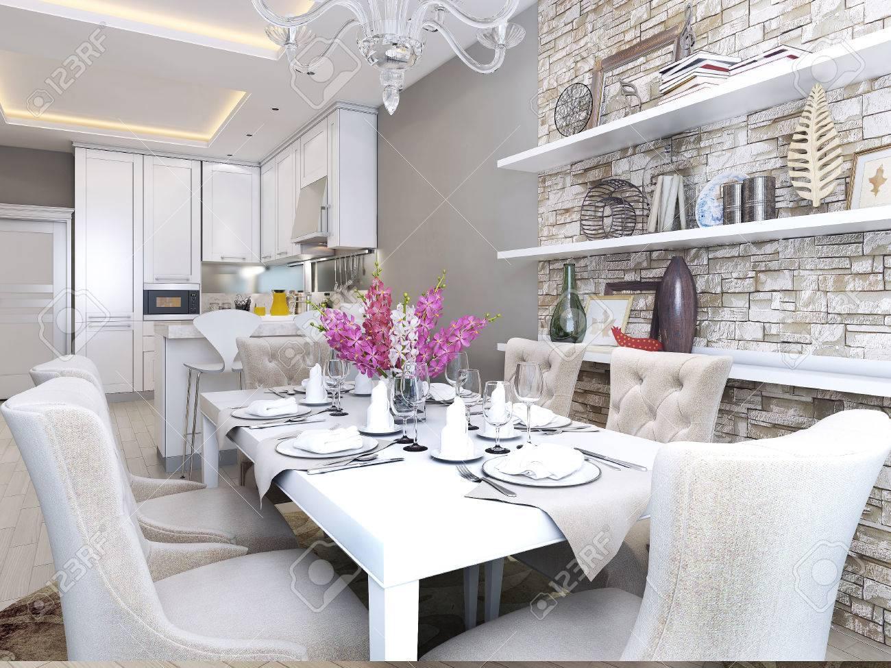 Sala Da Pranzo E Cucina In Stile Neoclassico, Le Immagini 3D Foto ...