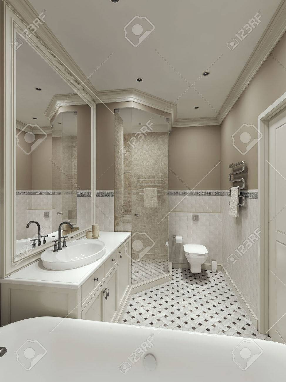 Bathroom Classic Style, 3d Images Stock Photo   47512688