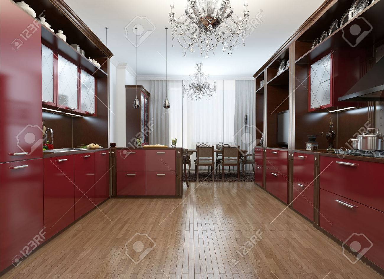 Kitchen in the Art Deco style, 17d images