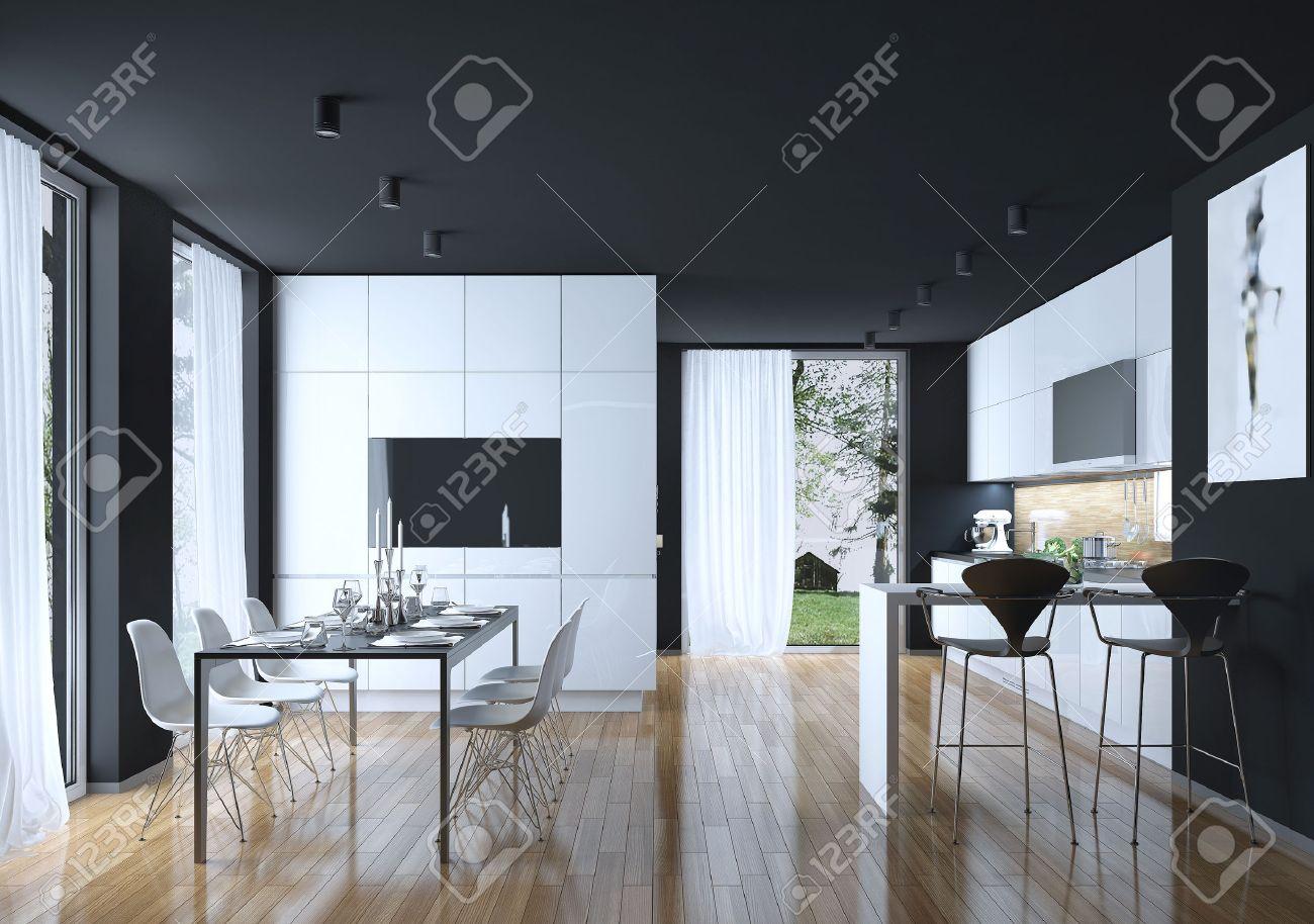 Cuisine Salle A Manger Style Moderne Les Images 3d Banque D