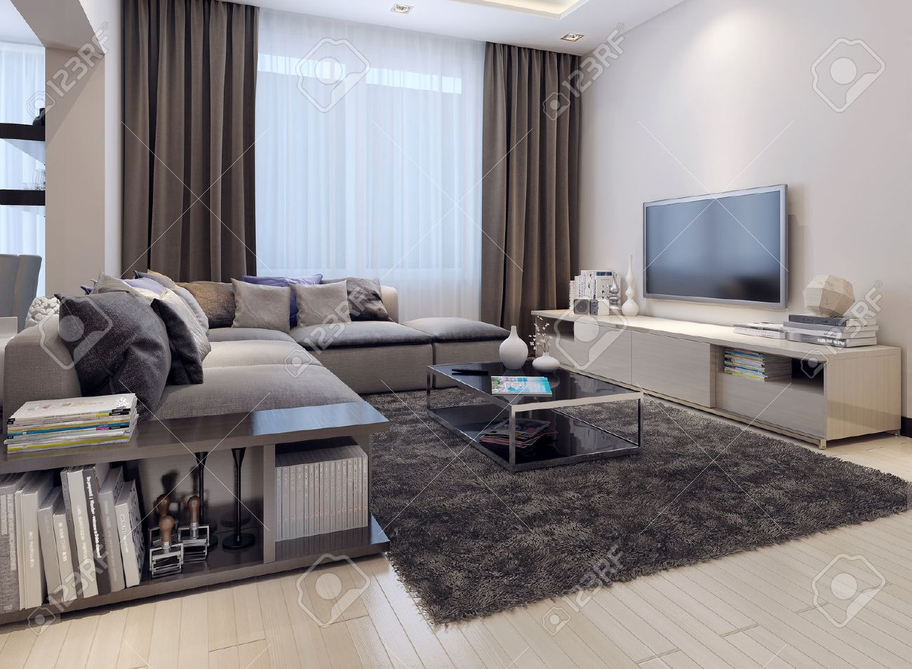 Living Room Contemporary Style, 3D Images Stock Photo, Picture And ...