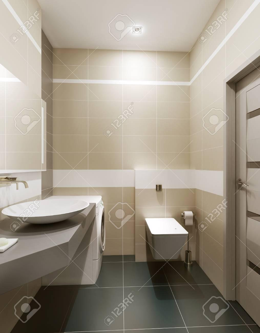 Cuarto De Baño De Estilo Moderno. Imágenes 3d Fotos, Retratos ...