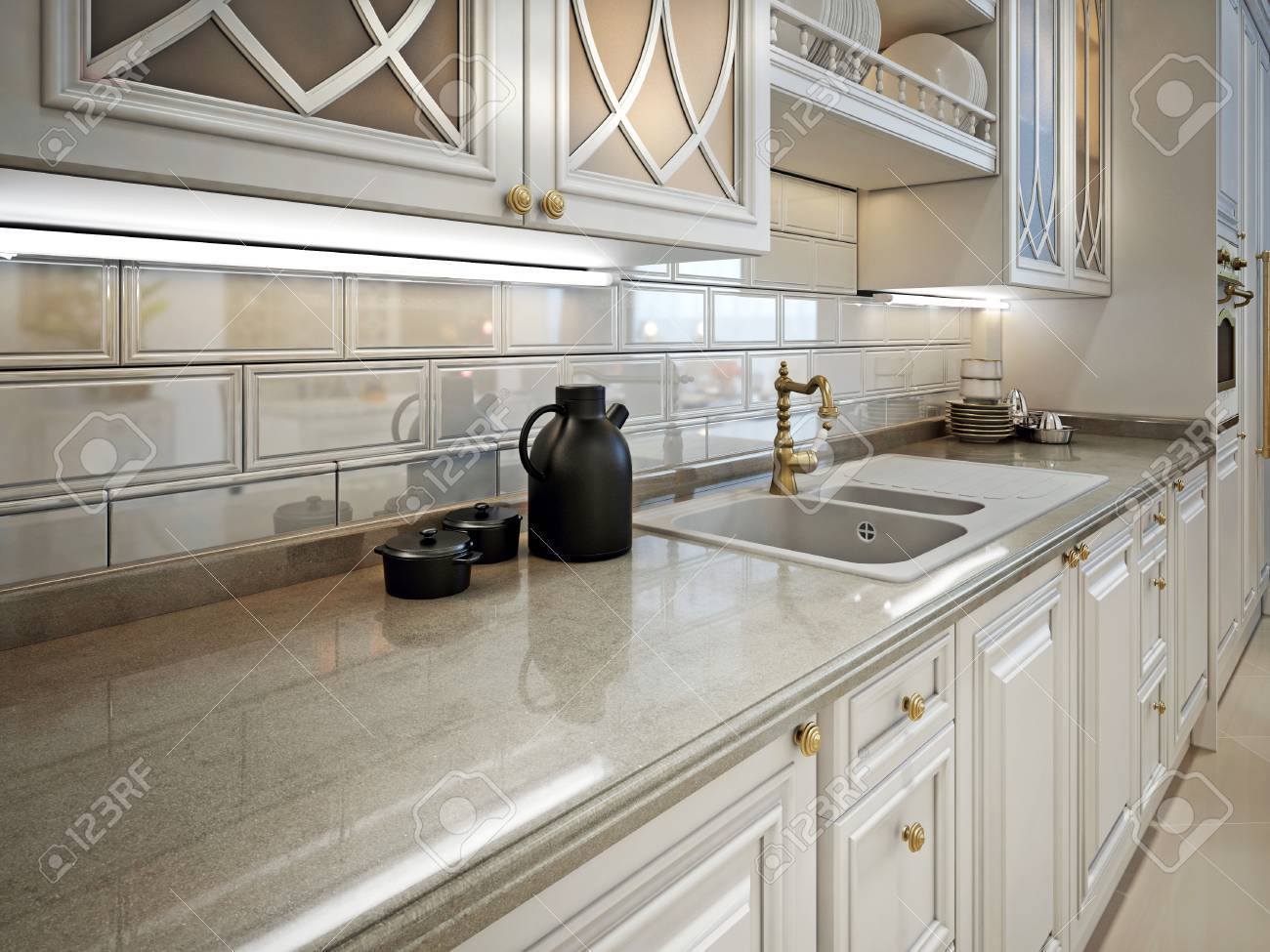 Kitchen Furniture And Marble Work Surface In A Classic Style Stock Photo Picture And Royalty Free Image Image 47512657