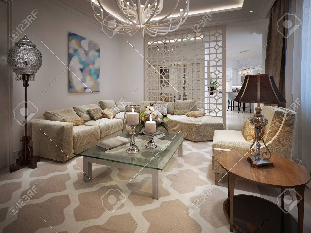 Peachy Living Room Arabic Style 3D Visualization Home Interior And Landscaping Elinuenasavecom