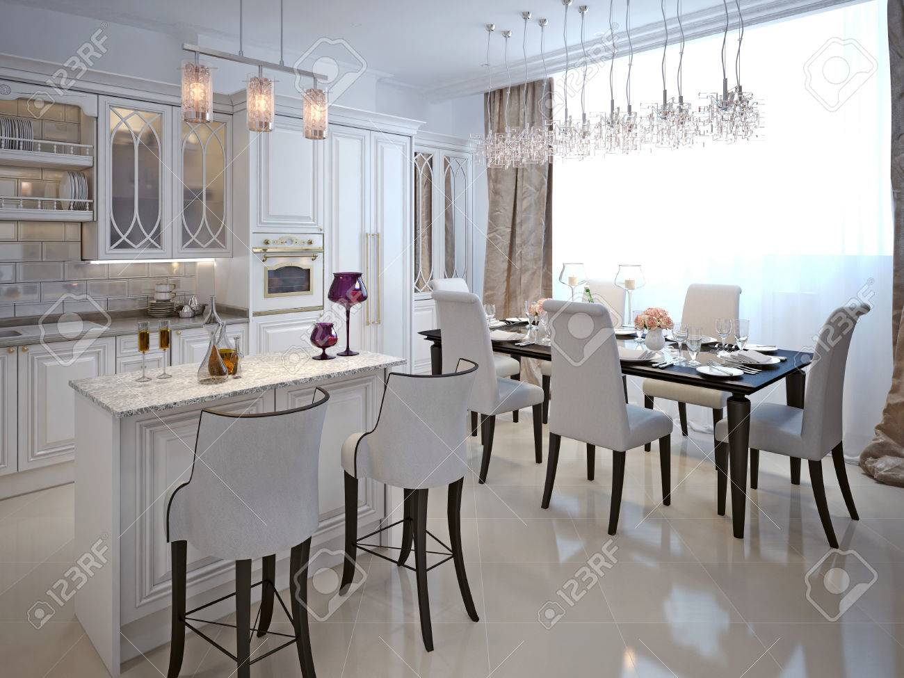 The Kitchen Dining Room In A Classical Style White Color And Chernomom