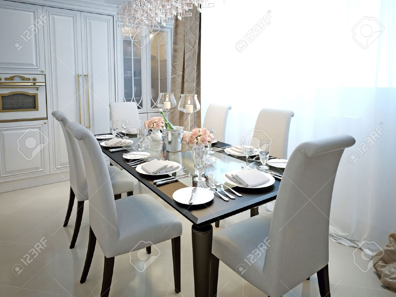 The dining room and kitchen in the style of art deco with the