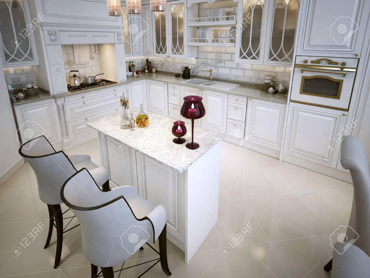 Luxury White Kitchen With A Breakfast Bar In Arabic Style. 3D ...