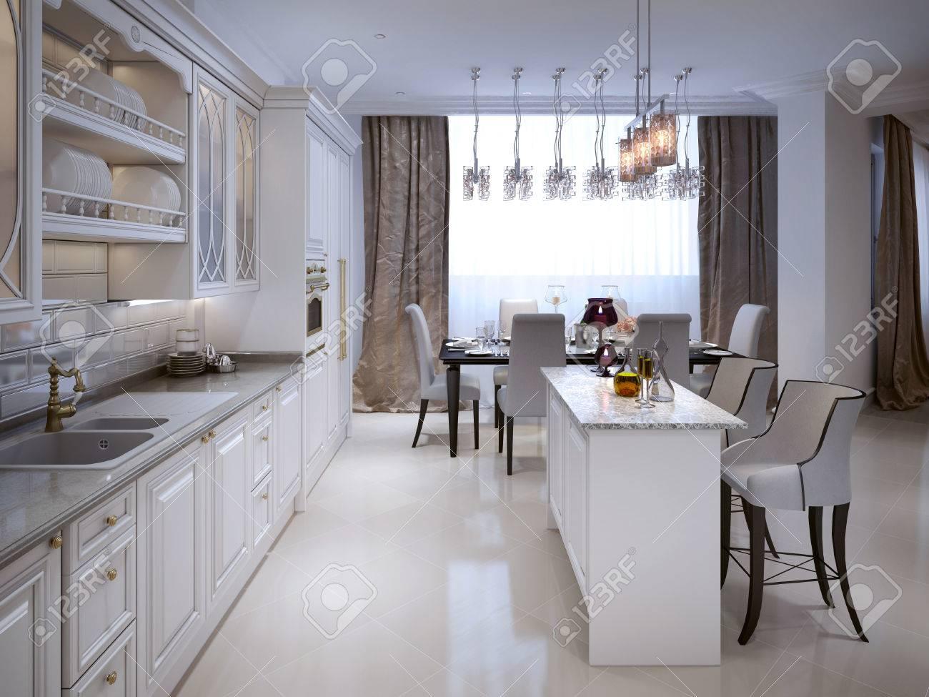 Die Küche Und Esszimmer In Einem Klassischen Stil. Die Weiße Farbe ...