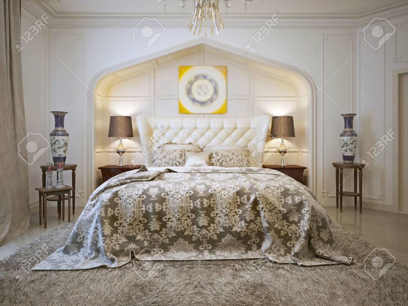 Luxuriöses Schlafzimmer Im Arabischen Stil. 3D übertragen ...