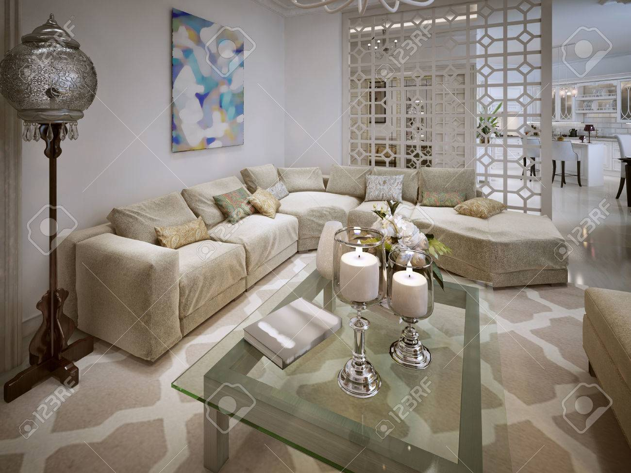 Luxury Living In The Moroccan Style With A Large Sofa 3d Render
