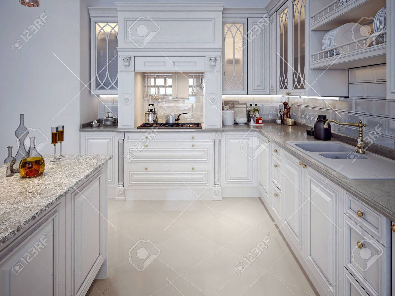 Luxury White Kitchen With A Classic Style. 3D Render. Stock Photo   47512594