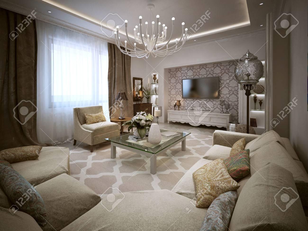 Wohnen Im Marokkanischen Stil. Die Beige, Braun Und Gelben Farben. 3D  übertragen.