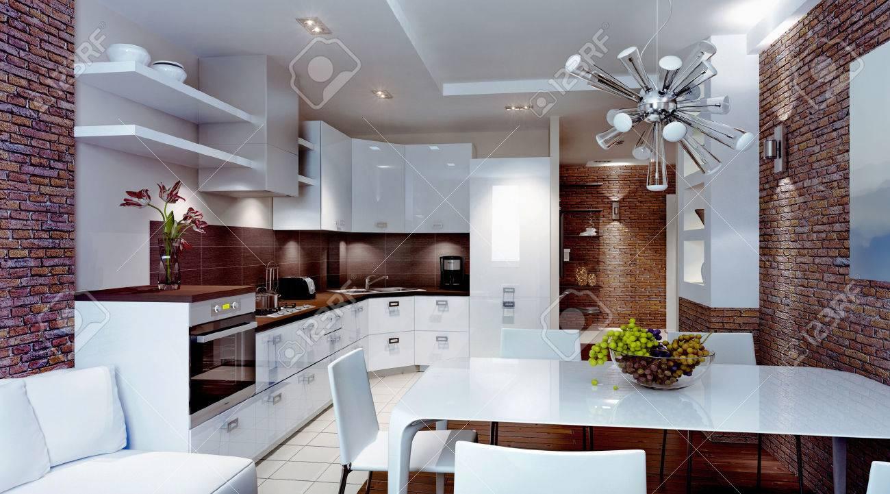 Moderne Küche Interieur, 3d Interior Lizenzfreie Fotos, Bilder Und ...