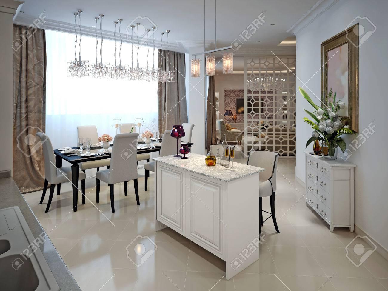 Küche Mit Insel Und Esstisch Im Arabischen Stil. 3D übertragen.  Standard Bild