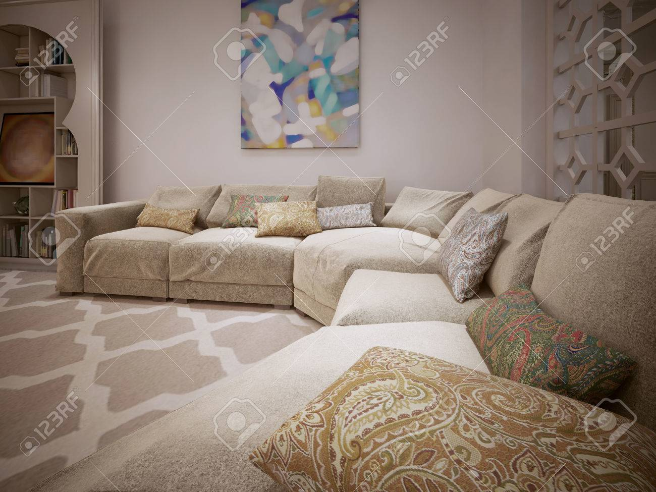 Contemporary Sofa In A Room With A Moroccan Style 3d Render