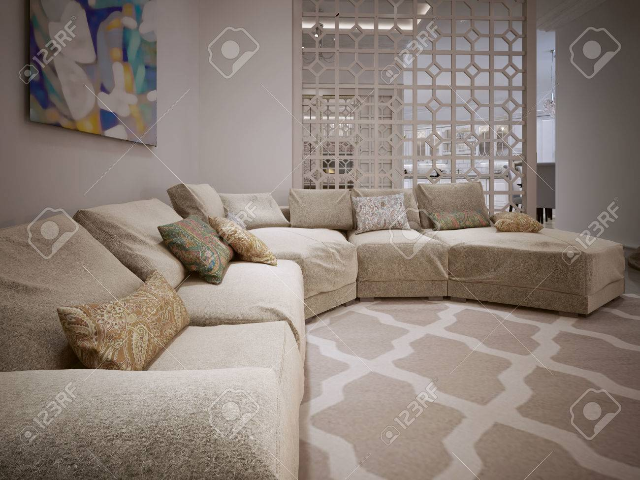Amazing Large Corner Sofa In A Modern Style From Fabric Beige Cushions Uwap Interior Chair Design Uwaporg