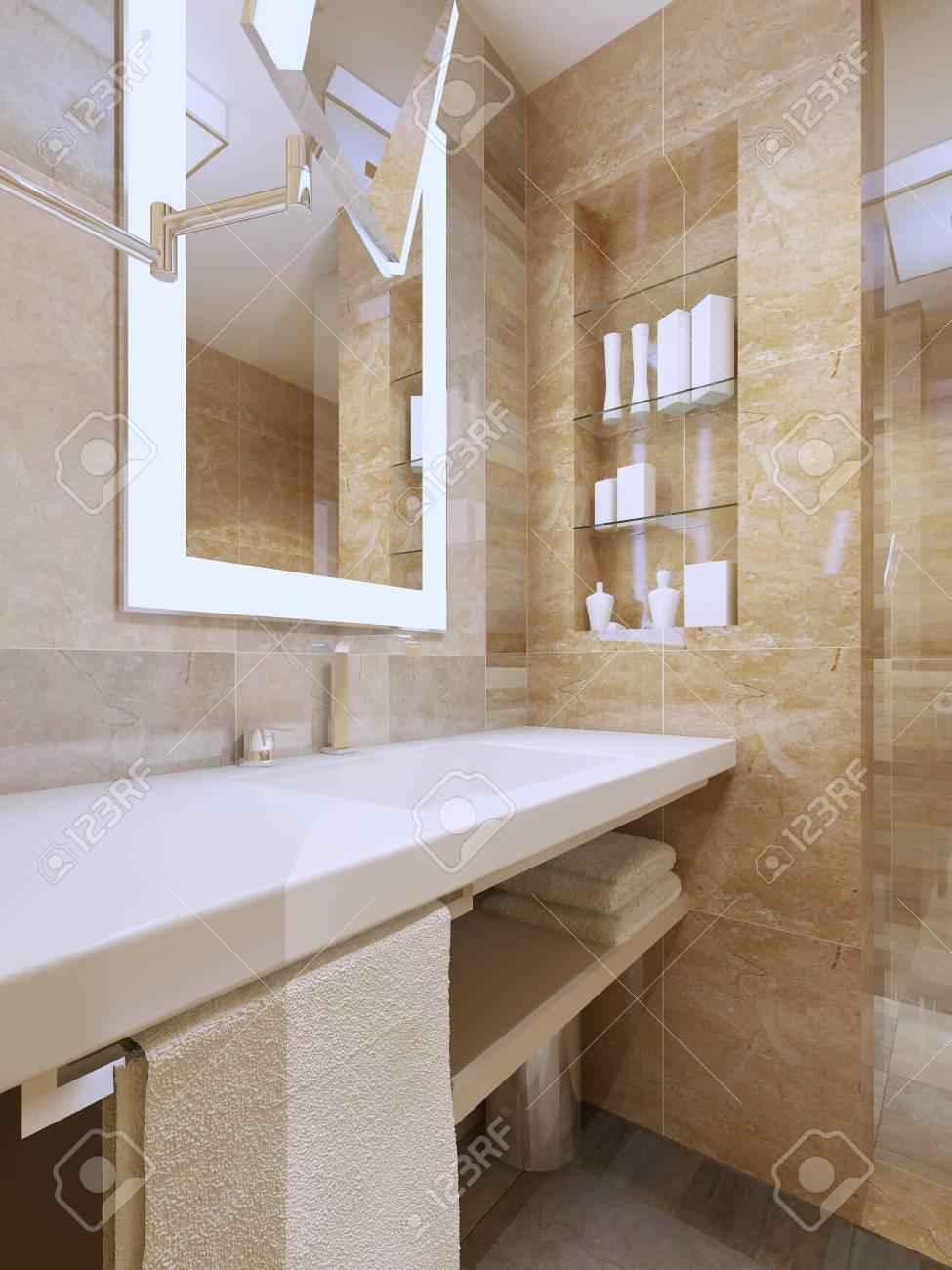 Intérieur de salle de bain de luxe. Console évier avec comptoir en  céramique blanche, niche, miroir avec lumière cadre. Rendu 3D