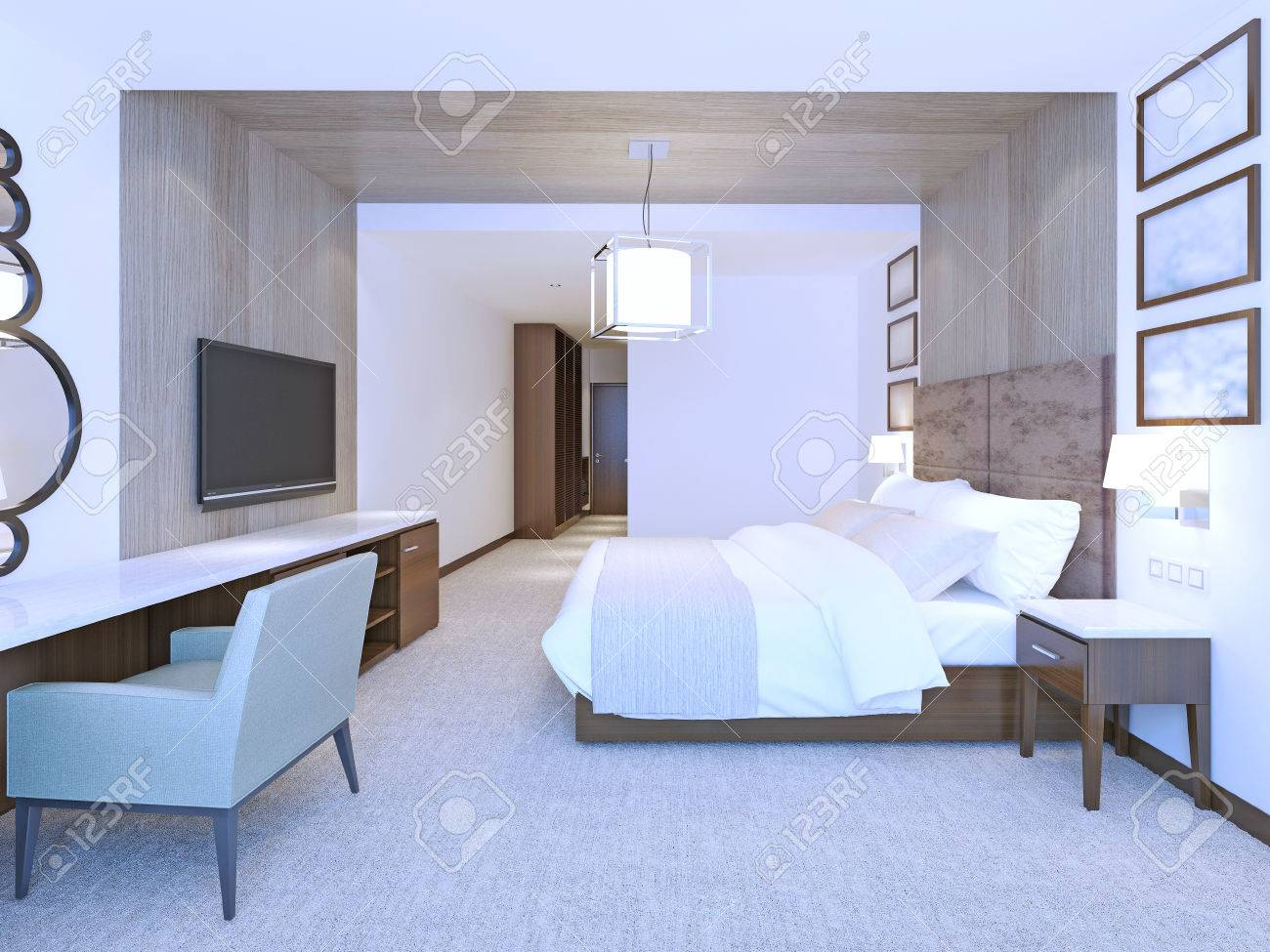Idea Of Modern Master Bedroom Large Double Bed With Suede Leather Stock Photo Picture And Royalty Free Image Image 47621206