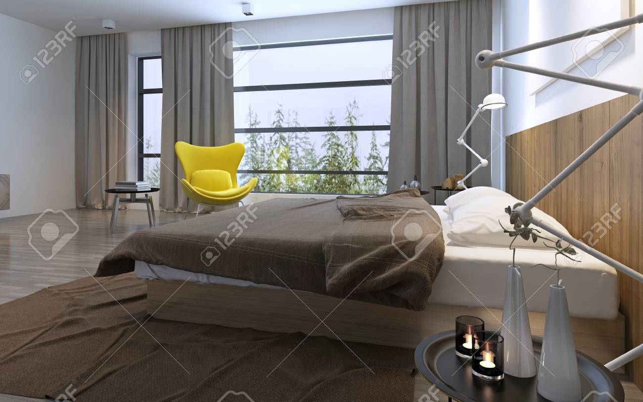 Bett Und Gelben Stuhl Im Schlafzimmer Mit Großem Fenster, Tageslicht Mit  Inbegriffen Lichter, Braun