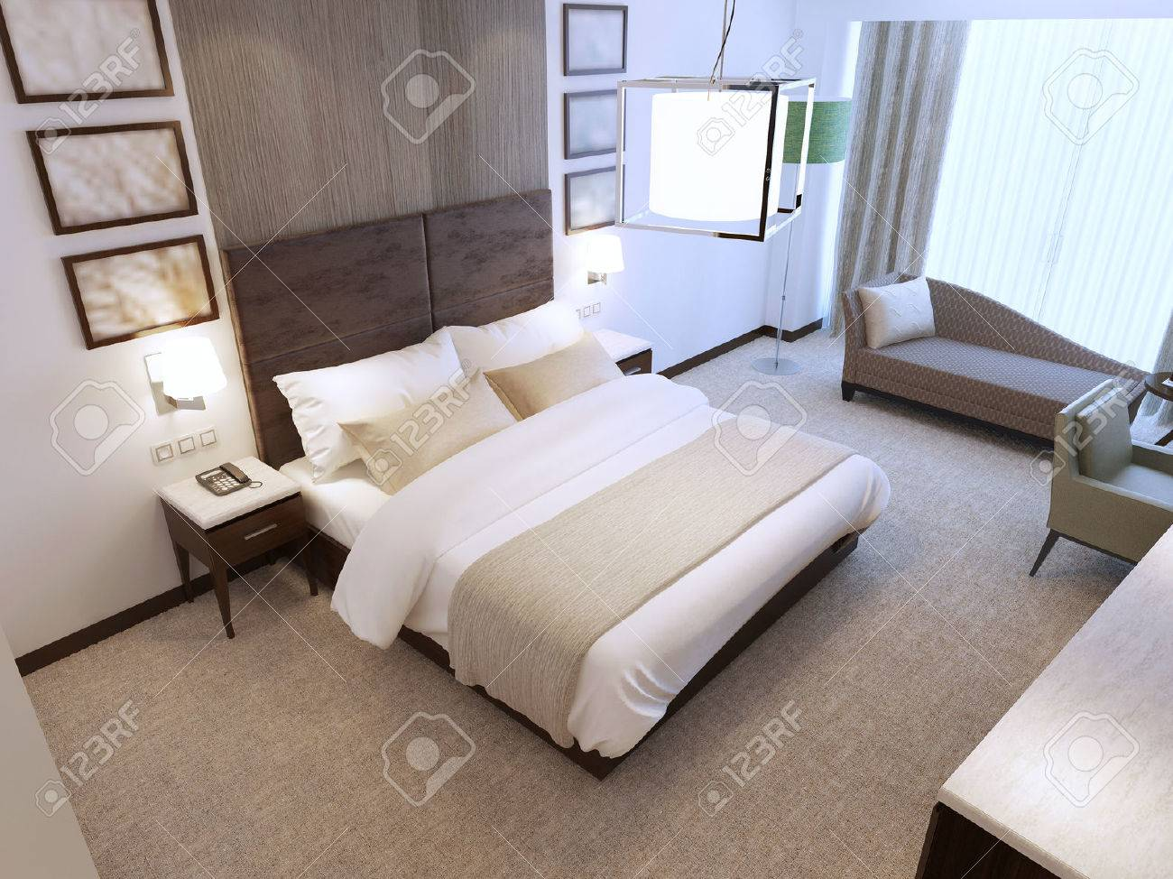 Modern Bedroom In Daylight With Included Lighting Minimalist Stock Photo Picture And Royalty Free Image Image 47621210,Colours That Go With Purple In A Bedroom