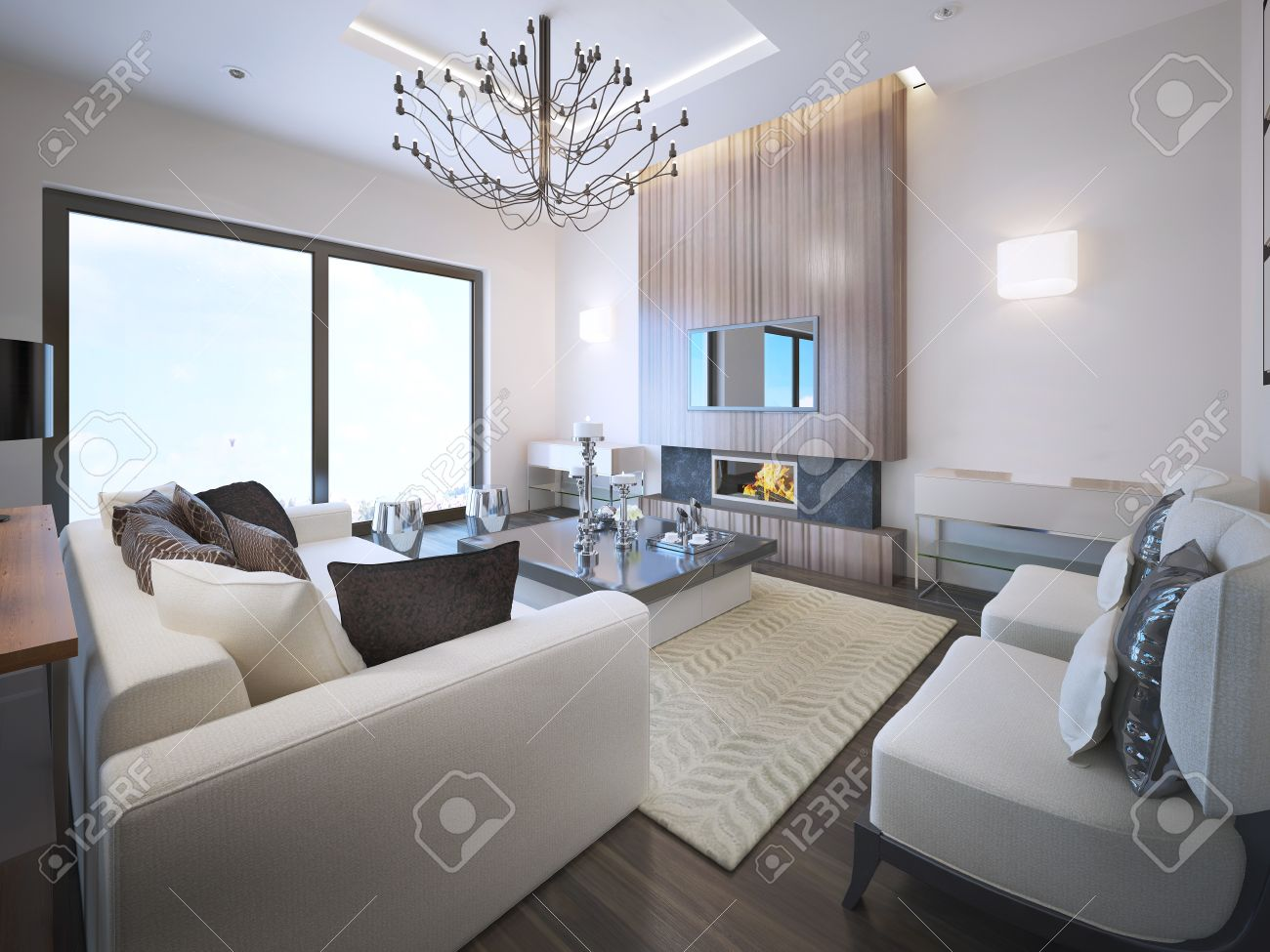 Avant Garde Living Room Trend High Ceiling With Neon Lights Fireplace Wood Frame