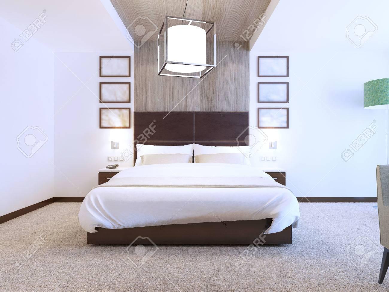 camera da letto moderna con decorazioni in legno alle pareti ... - Decori Camera Da Letto