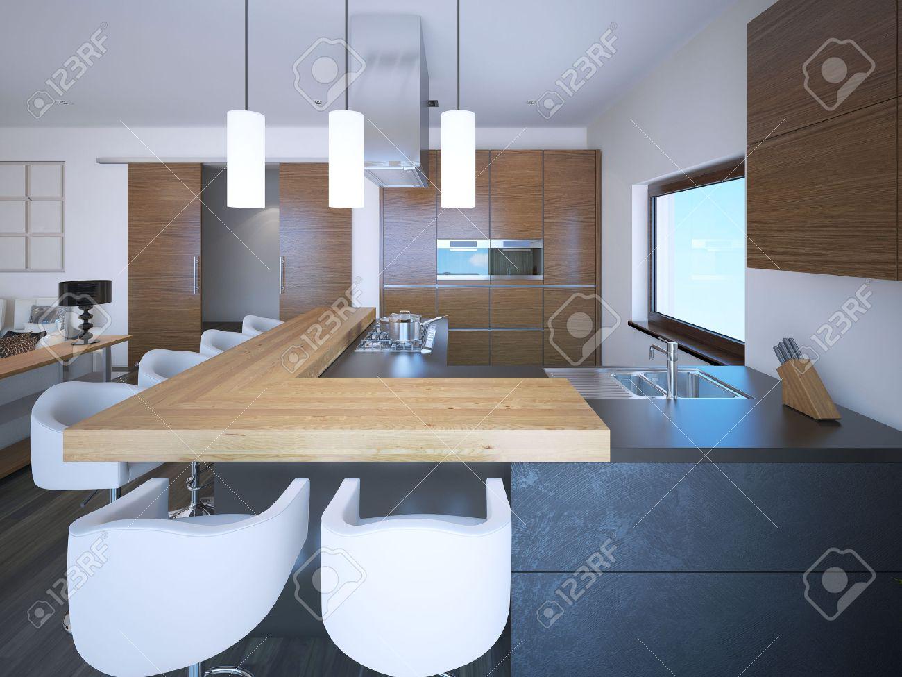 Helle Küche Studio Art Deco-Stil. Weiße Wände Und Braune Schränke In ...