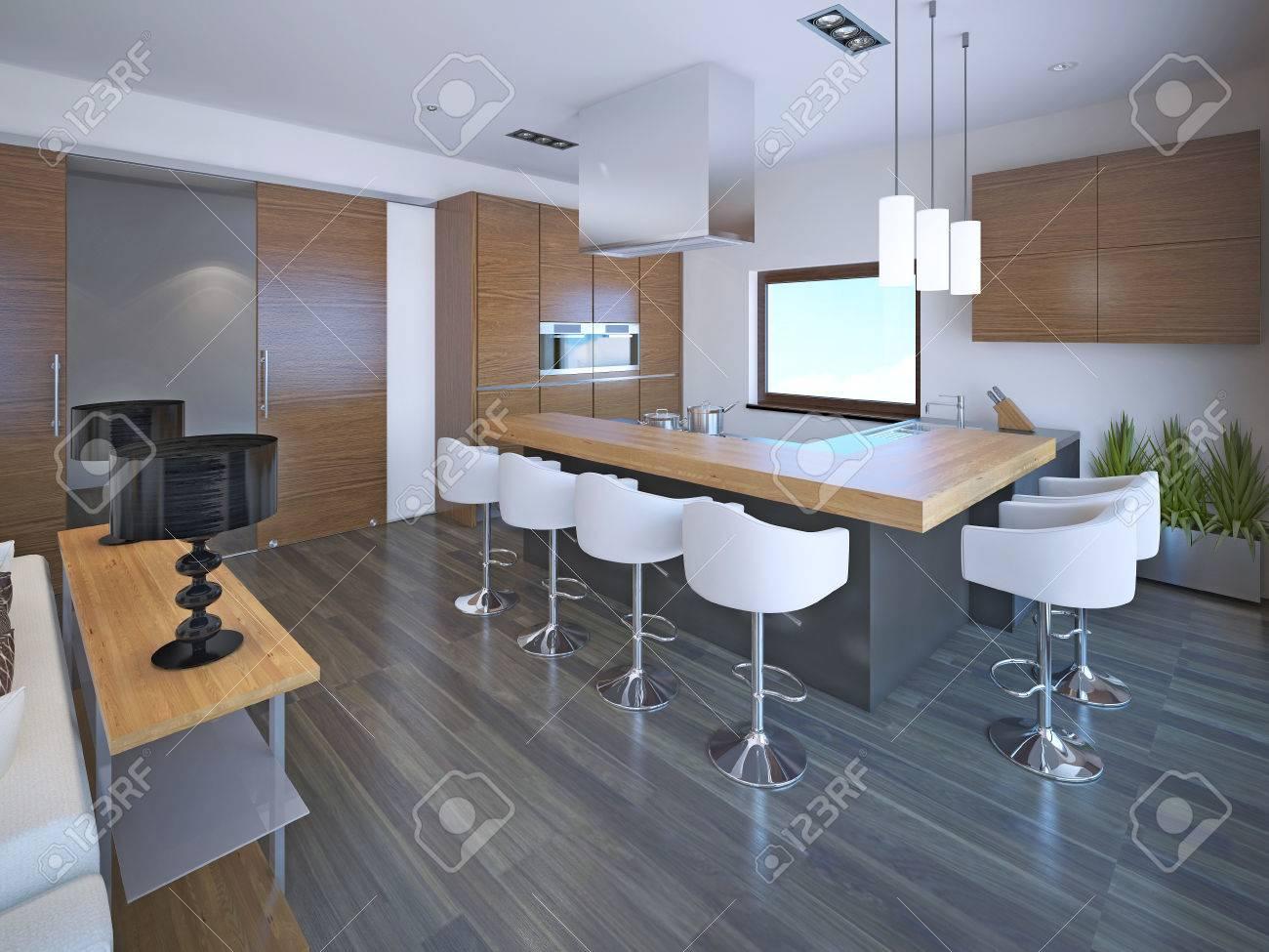 Licht L-förmige Küche Design In OntoArt Stil. Set Braun Zebrano ...