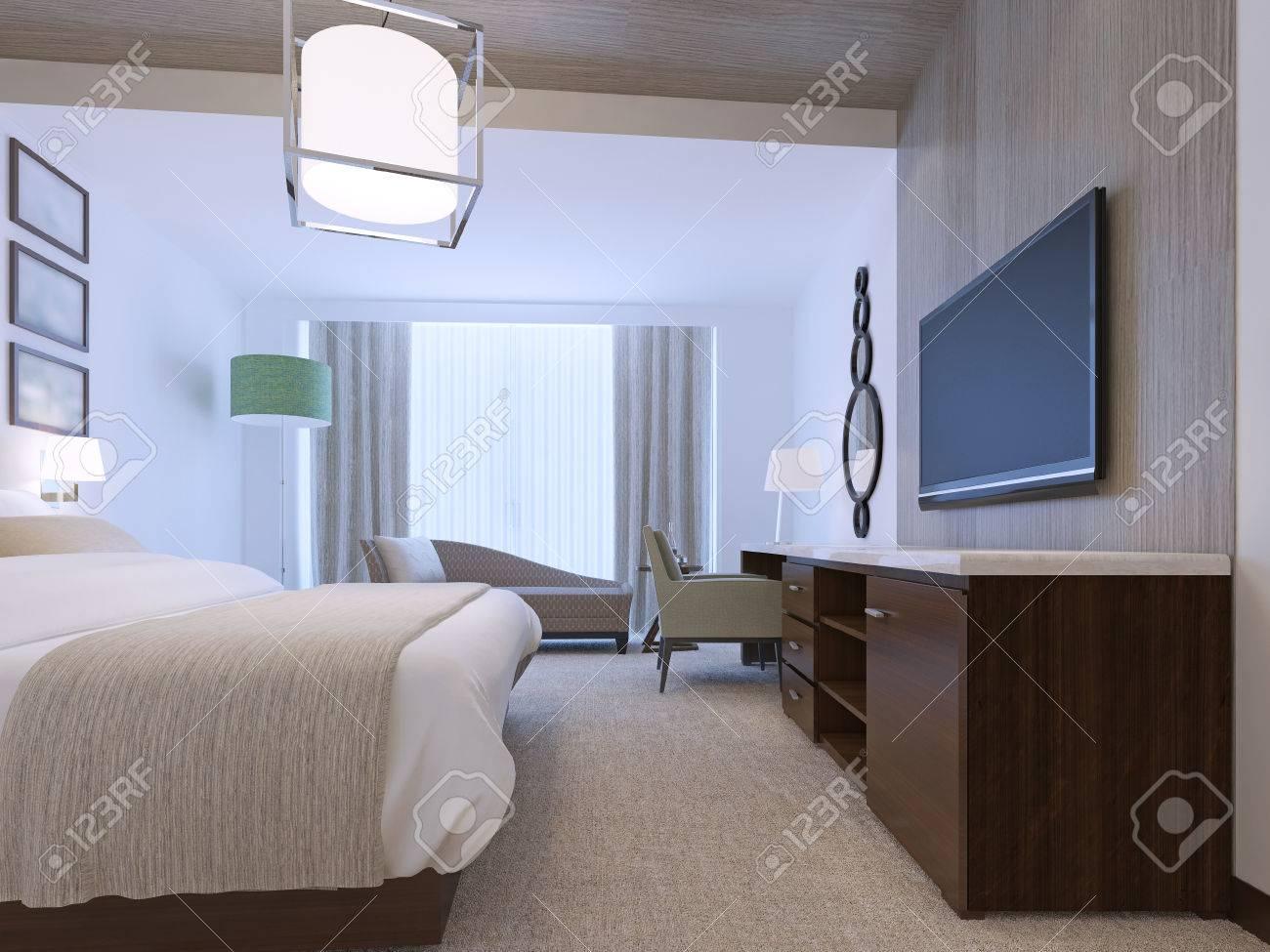 camera da letto bianco con nicchia decorativa di legno chiaro