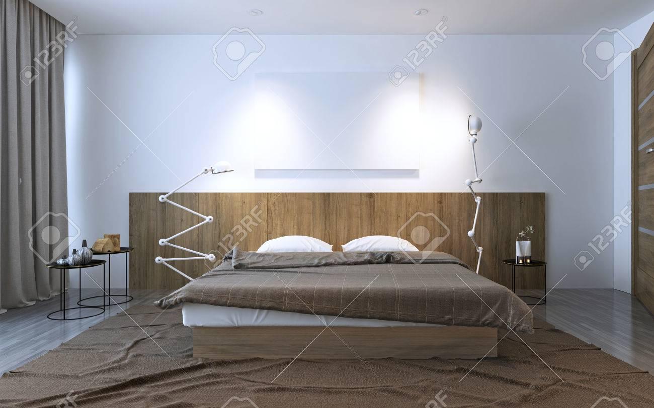 Inspiration Zur Zeitgenössischen Schlafzimmer. Weiße Und Braune Dagegen  Idee Dekor Für Ihr Schlafzimmer. 3D