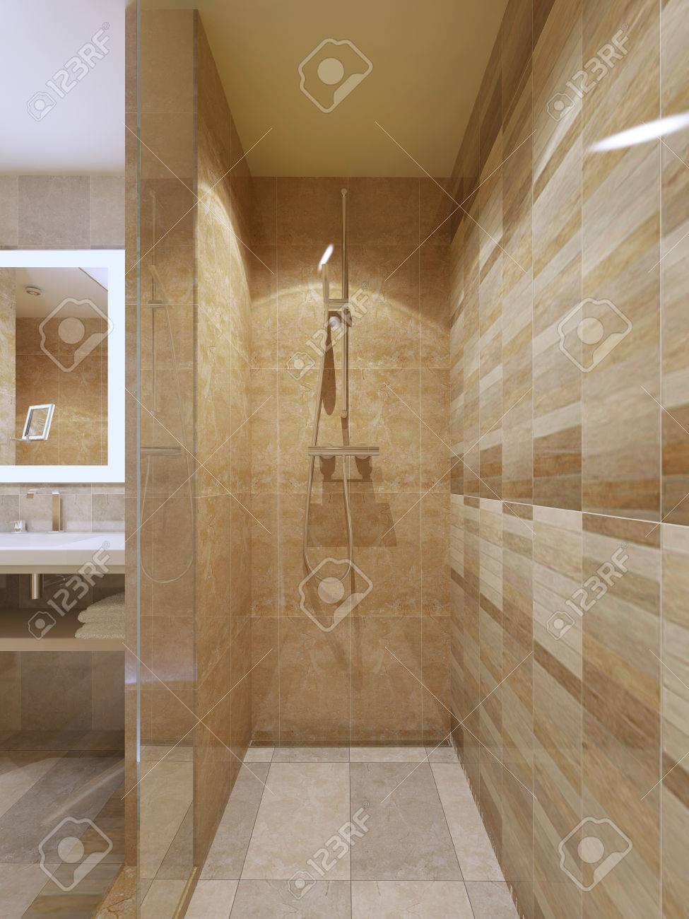 foto de archivo ducha de alta tecnologa en el cuarto de bao con paredes de azulejos de mrmol puertas de vidrio d rinden