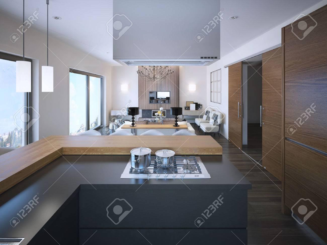 banque dimages ide dappartements du studio aux couleurs marron et blanc gris colors armoires de cuisine moderne en forme de l 3d render