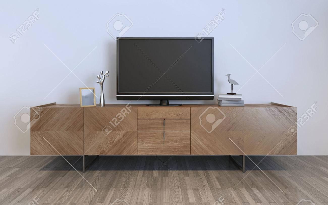 meuble tv avec écran plasma et décorations, armoire ikea brun avec