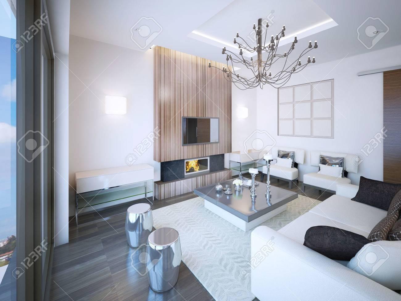 Salón Estilo Art Deco Con Chimenea. Muebles Inusual Hecho De ...