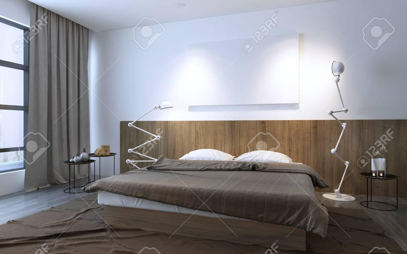 Perfekt Minimalist Schlafzimmer In Brauner Farbe Mit Wandholzdekorplatten, Gebogene  Lampen. 3D übertragen Standard Bild