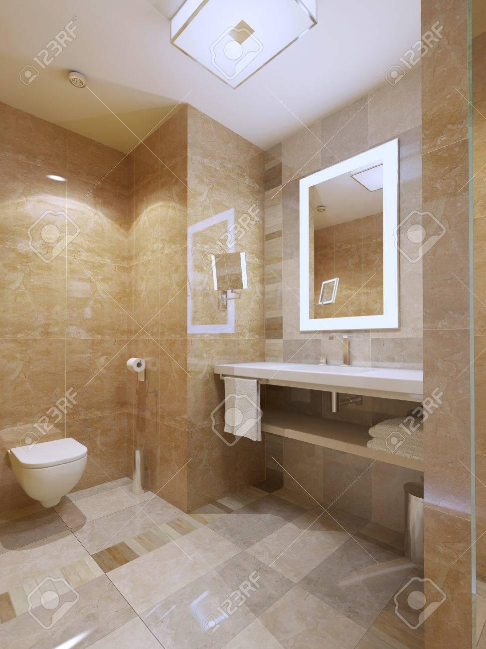 Salle De Bain Dans Chambre ~ salle de bain style moderne chambre lumineuse avec carrelage en