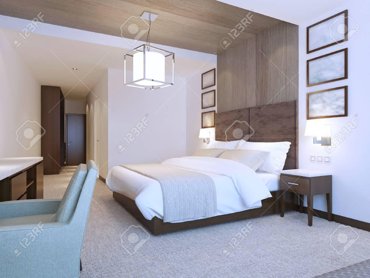 Modernes Design Schlafzimmer Minimalistische Interieur. 3D ...