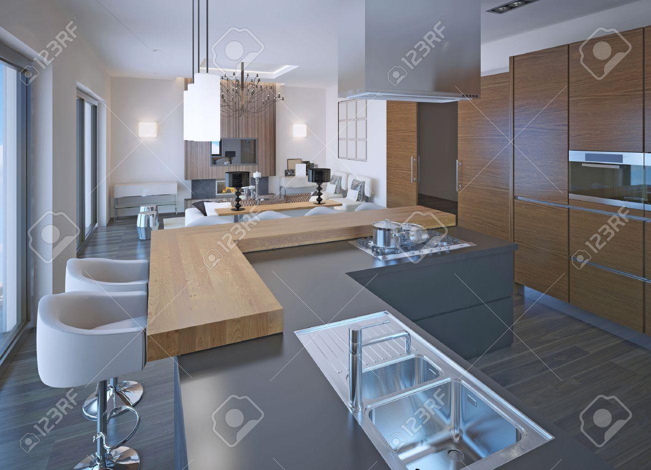 Cuisine Avec Bar Comptoir conception de la cuisine néoclassique avec bar. comptoir en bois et