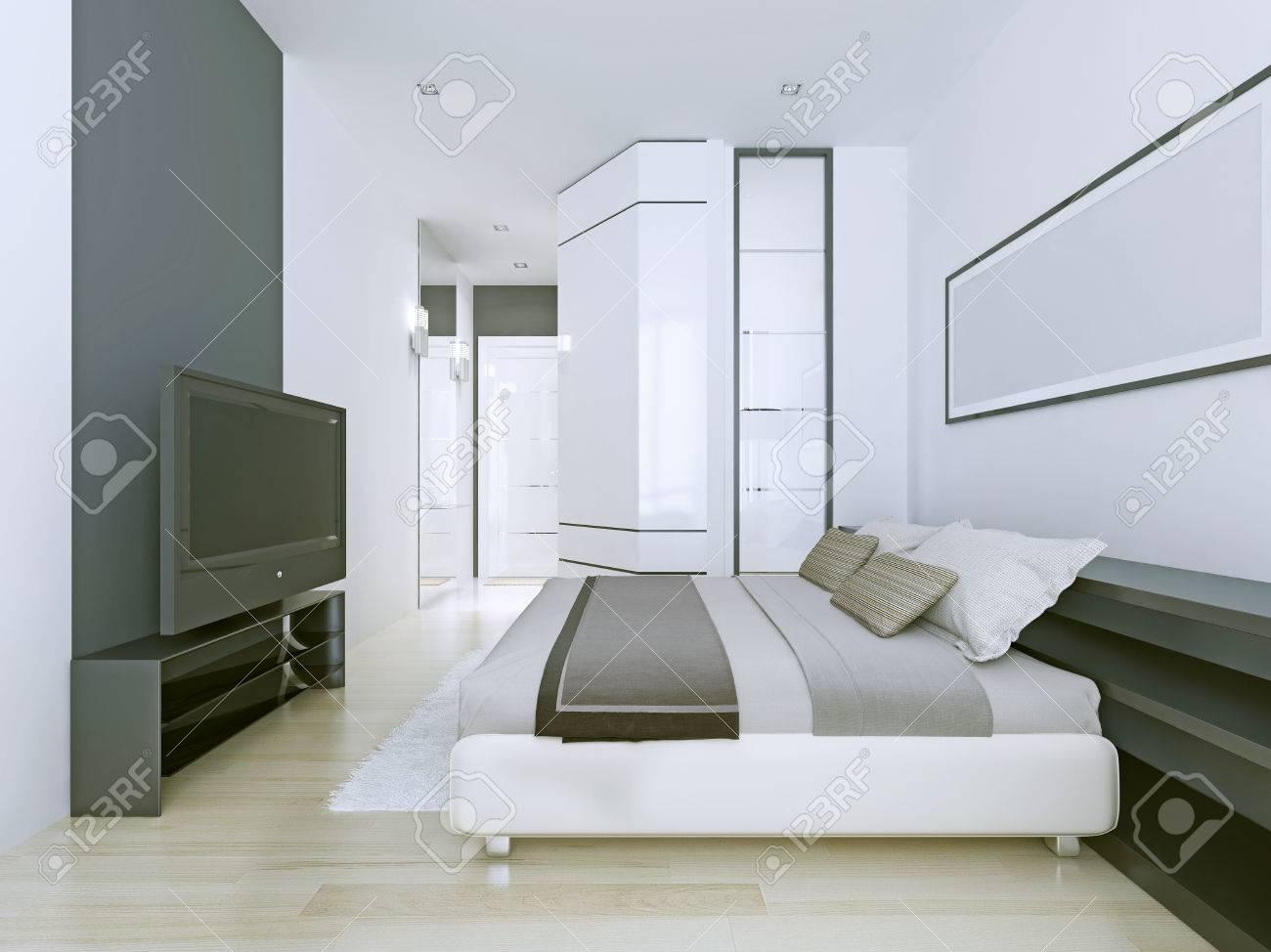 Appartements Blancs Dans Le Style Contemporaryu. Décorations Gris Foncé  Dans La Chambre Blanc De Neige