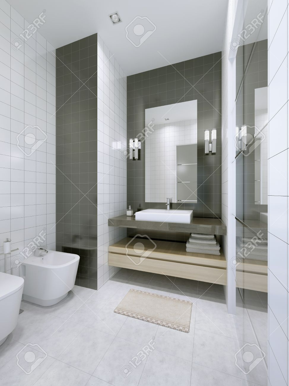 White Bathroom In Hotel Apartments. Marble Tile Flooring, Double ...