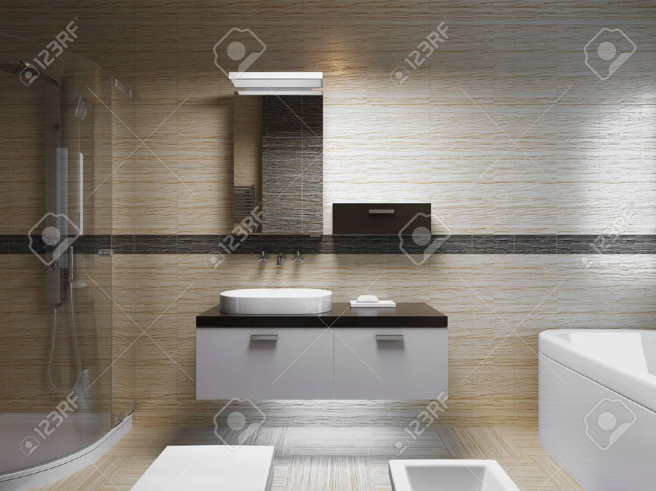 Schöne Badezimmer Interieur, Abendlicht. Vorderansicht Der An Wanne ...