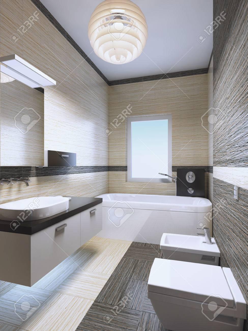 Lumières De Salle De Bains salle de bains cher lumineux avec des lumières au néon, carreau de zebrano  dans la crème et les couleurs brun pâle. mobilier blanc élégant avec des