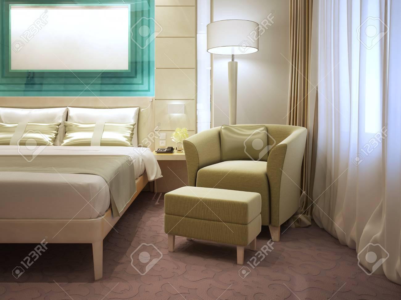 Cool Sessel Mit Fußstütze Sammlung Von Fußstütze In Modernen Hotels. 3d übertragen Standard-bild